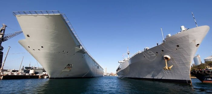 HMAS Canberra and USS Blue Ridge