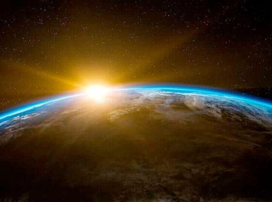 Virtual Reality - sunrise over earth.