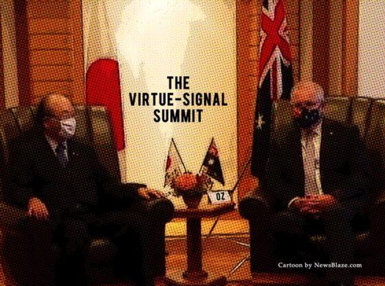 australia japan virtue signal summit. Cartoon by NewsBlaze.com.